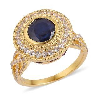 Masoala Sapphire, Multi Gemstone 14K YG Over Sterling Silver Royal Ring (Size 7.0) TGW 6.60 cts.