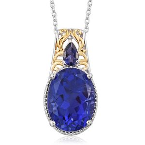 Playa Quartz, Catalina Iolite 14K YG and Platinum Over Sterling Silver Pendant With Chain (20 in) TGW 10.50 cts.