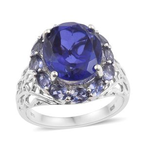 Playa Quartz, Catalina Iolite Platinum Over Sterling Silver Openwork Ring (Size 7.0) TGW 10.55 cts.