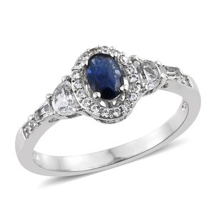 Kanchanaburi Blue Sapphire, Multi Gemstone Platinum Over Sterling Silver Ring (Size 7.0) TGW 1.30 cts.