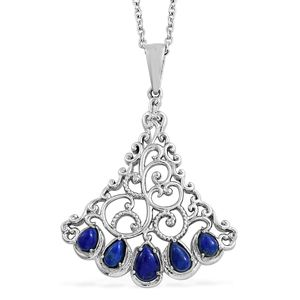 Lapis Lazuli Stainless Steel Pendant With Chain (20 in) TGW 1.37 cts.