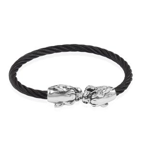 Black Oxidized Stainless Steel Adjustable Tiger Head Bangle (6 in)