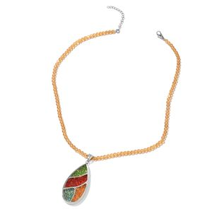 Champagne Glass Beads, Multi Color Austrian Crystal Stainless Steel Pendant With Necklace (18 in) TGW 53.00 cts.