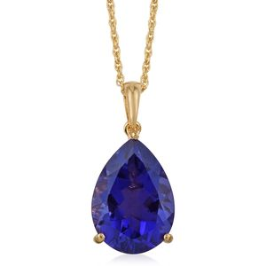 Playa Quartz Vermeil YG Over Sterling Silver Pear Solitaire Pendant With Chain (20 in) TGW 9.00 cts.