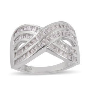 Simulated White Diamond Sterling Silver Crossover Ring (Size 5.0) TGW 2.70 cts.