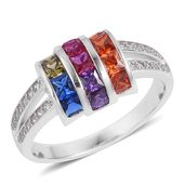 Simulated Multi Color Diamond Sterling Silver Ring (Size 8.0) TGW 1.75 cts.