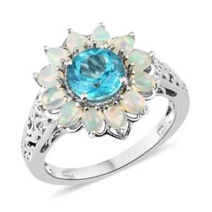 Paraiba Topaz, Ethiopian Welo Opal Platinum Over Sterling Silver Ring (Size 10.0) TGW 3.45 cts.