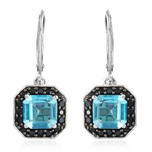 Paraiba Topaz, Thai Black Spinel Platinum Over Sterling Silver Lever Black Earrings TGW 4.90 cts.