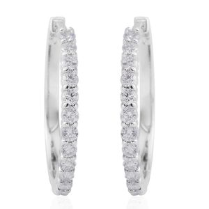 14K WG Diamond (G I1) Hoop Earrings TDiaWt 1.00 cts, TGW 1.00 cts.