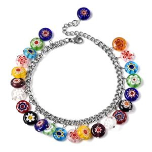 Multi Color Murano Millefiori Glass Stainless Steel Charm Bracelet (7.50 In) TGW 76.95 cts.