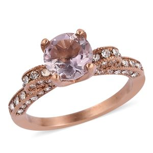 Rose De France Amethyst, White Austrian Crystal ION Plated RG Stainless Steel Ring (Size 9.0) TGW 1.56 cts.