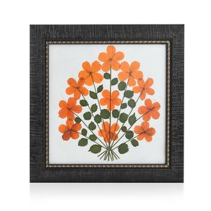 Handcrafted Multi Color Dry Cosmos Flower Petals and Rose Leaf Wooden Picture (10x10 in)