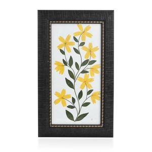 Handcrafted Multi Color Dry Cosmos Sunflower Petals and Haj Leaf Wooden Picture (7x12 in)