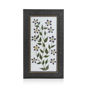 Handcrafted Multi Color Dry Crown Flower Petals and Haj Leaf Wooden Picture (7x12 in)