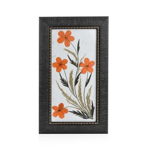 Handcrafted Multi Color Dry Cosmos Flower Patels and Leaf Wooden Picture (7x12 in)