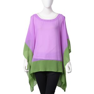 Purple and Green Off Shoulder Design 100% Polyester Chiffon Poncho (27.55x46.46 in)