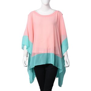 Pink and Turquoise 100% Polyester Cold Shoulder Chiffon Poncho (One Size)