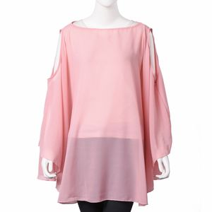 Pink Off Shoulder Design Pattern 100% Polyester Summer Chiffon Poncho (30.71x55.91 in)