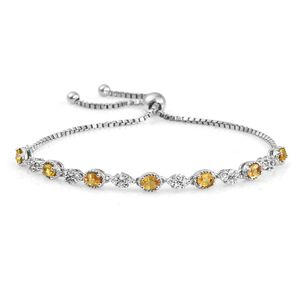 Yellow Sapphire, Cambodian Zircon Platinum Over Sterling Silver Bolo Bracelet (Adjustable) TGW 1.80 cts.