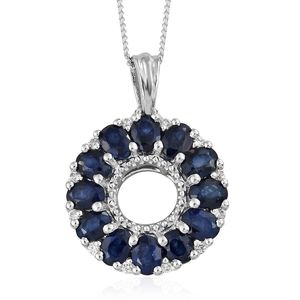 Madagascar Blue Sapphire, Cambodian Zircon Platinum Over Sterling Silver Pendant With Chain (20 in) TGW 2.95 cts.