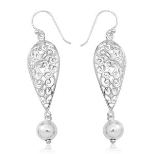 Sterling Silver Openwork Dangle Earrings (4.21g)