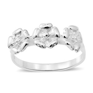 Sterling Silver Floral Trilogy Ring (Size 10.0)