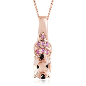 Dan's Collector Deal Marropino Morganite, Madagascar Pink Sapphire Vermeil RG Over Sterling Silver Pendant With Chain (20 in) TGW 0.72 cts.