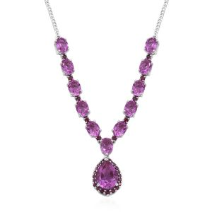 African Lilac Quartz, Orissa Rhodolite Garnet Platinum Over Sterling Silver Necklace (18 in) TGW 22.46 cts.