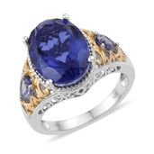 Playa Quartz, Catalina Iolite 14K YG and Platinum Over Sterling Silver Ring (Size 11.0) TGW 11.06 cts.