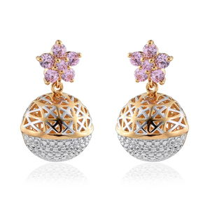 KARIS Collection - Simulated Pink Sapphire ION Plated 18K YG and Platinum Bone Brass Floral Sphere Openwork Drop Earrings Total Gem Stone Weight 1.69 Carat