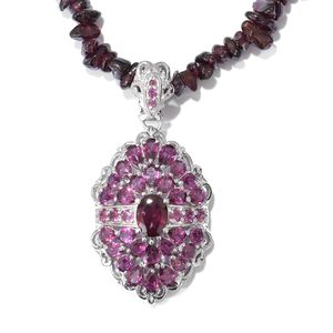 Orissa Rhodolite Garnet Platinum Over Sterling Silver Cluster Pendant with Necklace (20 in) TGW 122.57 cts.