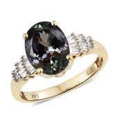 14K YG Peacock Tanzanite (2A), Diamond Ring (Size 7.0) TDiaWt 0.20 cts, TGW 3.45 cts.