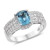Dan's Collector Deal London Blue Topaz, Cambodian Zircon Platinum Over Sterling Silver Ring (Size 11.0) TGW 3.63 cts.