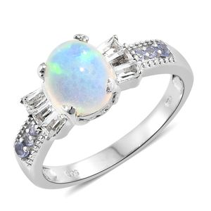 Ethiopian Welo Opal, Multi Gemstone Platinum Over Sterling Silver Ring (Size 8.0) TGW 2.41 cts.