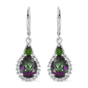 Northern Lights Mystic Topaz, Multi Gemstone Platinum Over Sterling Silver Lever Back Earrings TGW 7.48 cts.