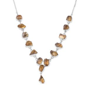 Artisan Crafted Rough Cut Citrine Sterling Silver Magic Ball Drop Necklace (20 in) TGW 61.88 cts.