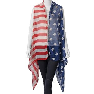 Red, Blue and White 100% Polyester USA National Flag Pattern Kimono (33.47x70.87 in)