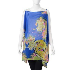 Blue 100% Polyester Flower Pattern Drape Shoulder Summer Poncho (One Size)