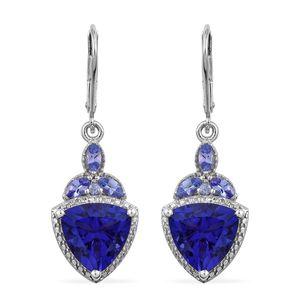 Playa Quartz, Tanzanite Platinum Over Sterling Silver Earrings TGW 8.04 cts.