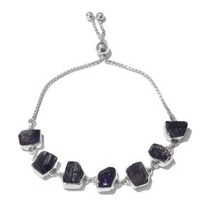 TLV Artisan Crafted Rough Cut Amethyst Sterling Silver Magic Ball Station Bracelet (Adjustable) TGW 33.77 cts.