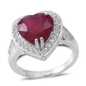 Niassa Ruby, White Topaz Sterling Silver Heart Ring (Size 9.0) TGW 9.77 cts.