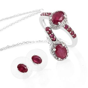 Niassa Ruby, Cambodian Zircon Platinum Over Sterling Silver Earrings, Ring (Size 5) and Pendant With Chain (20 in) TGW 5.81 cts.