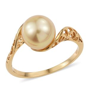 South Sea Pearl (9.5-10 mm) Vermeil YG Over Sterling Silver Openwork Fancy Bypass Ring (Size 10.0) TGW 7.75 cts.