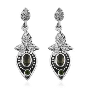 Bohemian Moldavite, Russian Diopside Sterling Silver Earrings TGW 0.87 cts.