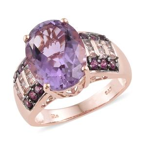 Rose De France Amethyst, Multi Gemstone Vermeil RG Over Sterling Silver Ring (Size 7.0) TGW 10.20 cts.
