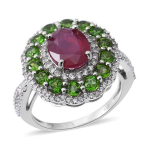 Niassa Ruby, Russian Diopside, Cambodian White Zircon Sterling Silver Cocktail Ring (Size 8.0) TGW 7.16 cts.