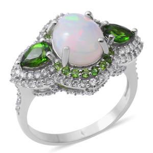 Ethiopian Welo Opal, Multi Gemstone Sterling Silver Ring (Size 11.0) TGW 6.84 cts.