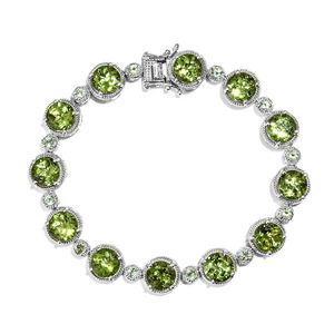 Hebei Peridot Platinum Over Sterling Silver Bracelet (7.50 In) TGW 25.70 cts.