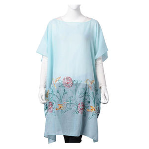 Sky Blue 100% Polyester Floral Embroidered Scoop Neck Poncho (One Size)