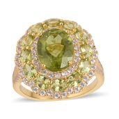Hebei Peridot, White Zircon 14K YG Over Sterling Silver Ring (Size 7.0) TGW 7.55 cts.